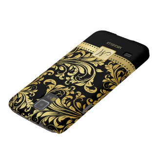 Elegant Black and Gold Damask wiht Monogram Galaxy S5 Cover