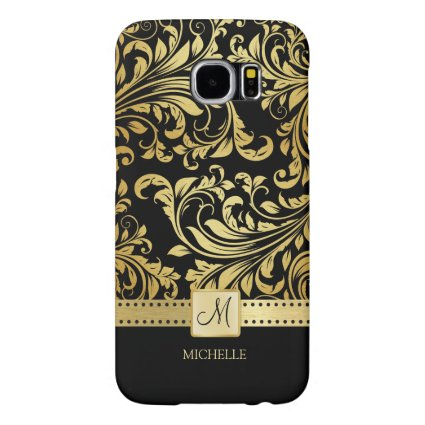 Elegant Black and Gold Damask with Monogram Samsung Galaxy S6 Cases