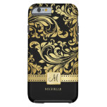 Elegant Black and Gold Damask with Monogram Tough iPhone 6 Case