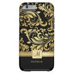 Elegant Black and Gold Damask with Monogram Tough iPhone 6 Case
