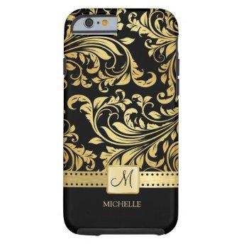 Elegant Black and Gold Damask with Monogram iPhone 6 Case