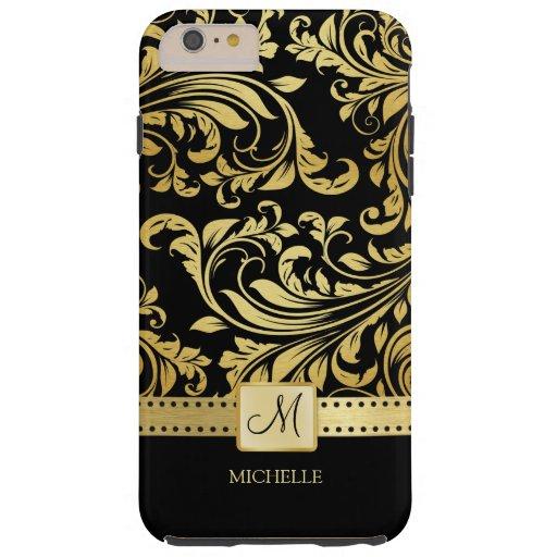 Elegant Black and Gold Damask with Monogram Tough iPhone 6 Plus Case