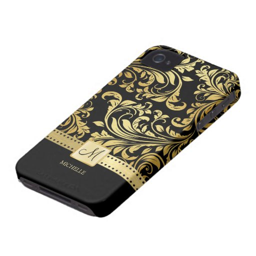 Elegant Black and Gold Damask with Monogram iPhone 4 Case-Mate Cases