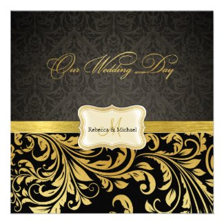 Elegant Black and Gold Damask with Monogram Custom Invitation
