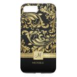 Elegant Black And Gold Damask With Monogram Iphone 7 Plus Case at Zazzle