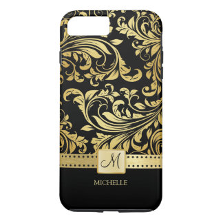 Elegant Black and Gold Damask with Monogram iPhone 7 Plus Case