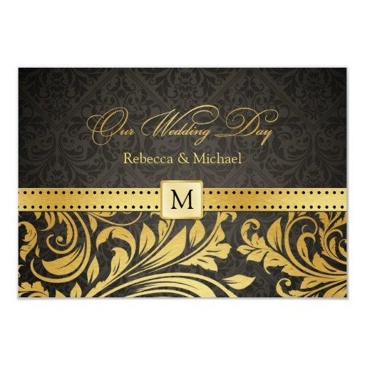 Elegant Black and Gold Damask with Monogram RSVP 3.5x5 Paper Invitation Card