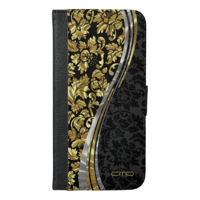 Elegant Black And Gold Damask With Silver Accents iPhone 6/6S Plus Wallet Case