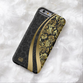 Elegant Black And Gold Damasks Dynamic Stripes 2 Barely There iPhone 6 Case