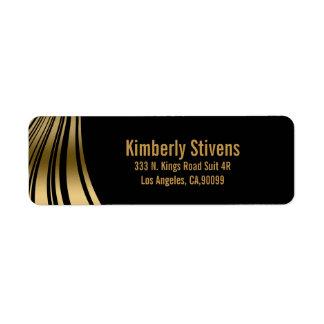 Elegant Black And Gold Dynamic Stripes Label