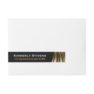 Elegant Black And Gold Dynamic Stripes Wrap Around Address Label