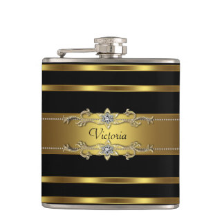 Elegant Black and Gold Flask