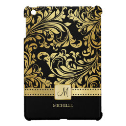 Elegant Black and Gold Floral Damask with monogram Case For The iPad Mini