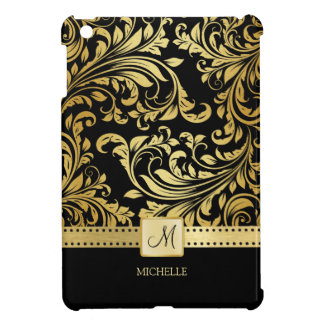 Elegant Black and Gold Floral Damask with monogram iPad Mini Case
