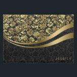 """Elegant Black And Gold Floral Damasks Placemat<br><div class=""""desc"""">Elegant black and faux gold vintage floral damasks. Custom and optional monogram.</div>"""