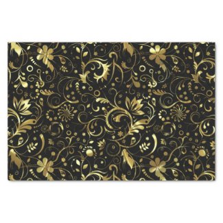 Elegant Black And Gold Floral Damasks