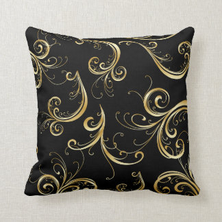 Elegant Black and Gold Floral Pattern Throw Pillow