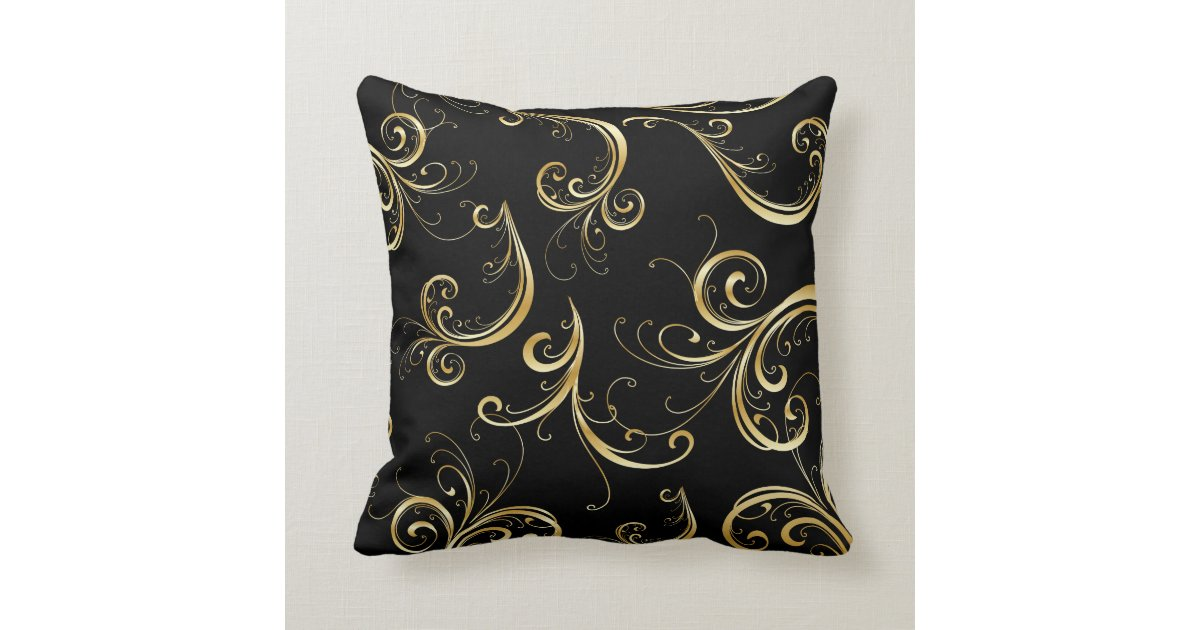 Decorative Pillows Black And Gold : Elegant Black and Gold Floral Pattern Throw Pillow Zazzle