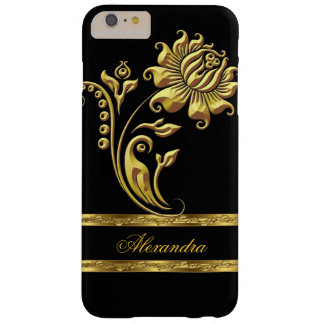 Elegant Black and Gold Flower Barely There iPhone 6 Plus Case