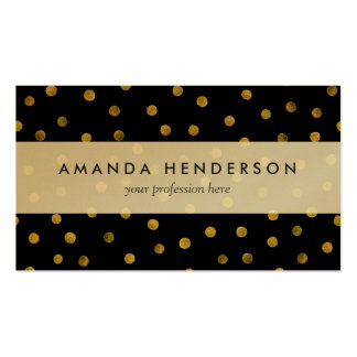 Elegant Black And Gold Foil Confetti Dots Business Card