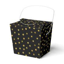 Elegant Black And Gold Foil Confetti Dots Favor Box