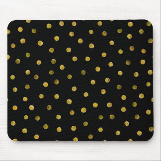 Elegant Black And Gold Foil Confetti Dots Mouse Pad