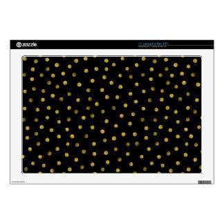 Elegant Black And Gold Foil Confetti Dots Skin For Laptop