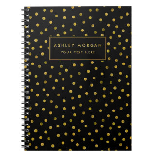 Elegant Black And Gold Foil Confetti Dots Spiral Notebook
