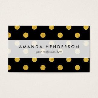 Elegant Black And Gold Foil Polka Dot Pattern Business Card