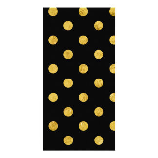 Elegant Black And Gold Foil Polka Dot Pattern Card