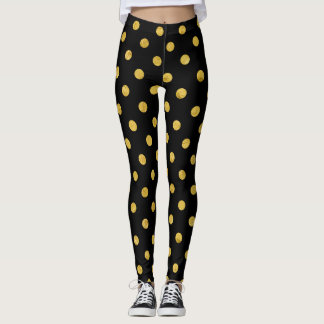 Elegant Black And Gold Foil Polka Dot Pattern Leggings