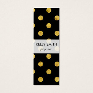 Elegant Black And Gold Foil Polka Dot Pattern Mini Business Card