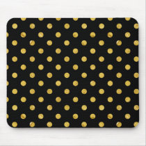 Elegant Black And Gold Foil Polka Dot Pattern Mouse Pad