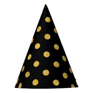 Elegant Black And Gold Foil Polka Dot Pattern Party Hat