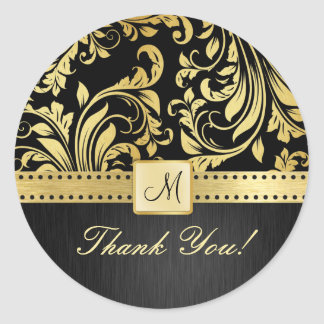 Elegant Black and Gold Foloral Damask Thank You! Classic Round Sticker