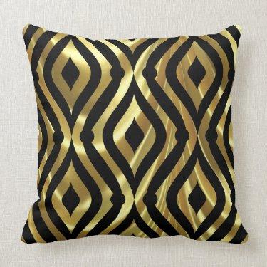 Elegant Black And Gold Geometric Pattern Pillows