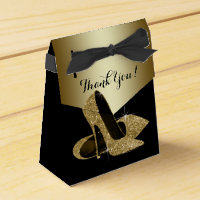Elegant Black and Gold Glitter High Heel Shoe Favor Box