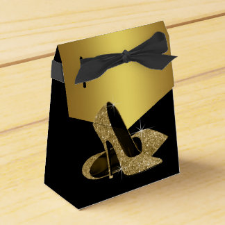 Elegant Black and Gold Glitter High Heel Shoe Party Favor Box