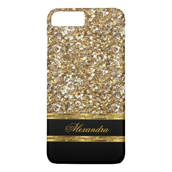 Elegant Black and Gold Glitter iPhone 7 Plus Case