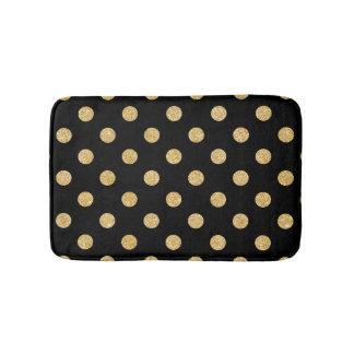Elegant Black And Gold Glitter Polka Dots Pattern Bath Mat