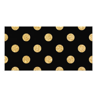 Elegant Black And Gold Glitter Polka Dots Pattern Card