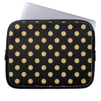 Elegant Black And Gold Glitter Polka Dots Pattern Computer Sleeve