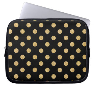 Elegant Black And Gold Glitter Polka Dots Pattern Computer Sleeve