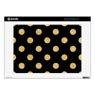 Elegant Black And Gold Glitter Polka Dots Pattern Decal For Acer Chromebook