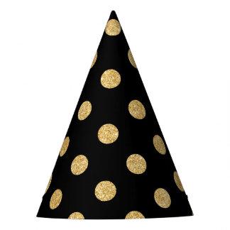 Elegant Black And Gold Glitter Polka Dots Pattern Party Hat
