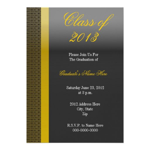 Elegant Black and Gold Graduation Invitation