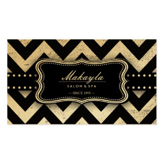 Elegant Black and Gold Grunge Chevron Pattern Double-Sided Standard Business Cards (Pack Of 100)