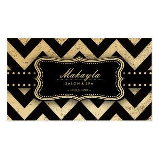 Elegant Black and Gold Grunge Chevron Pattern Business Card