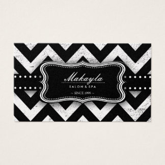 Elegant Black and Gold Grunge Chevron Pattern Business Card