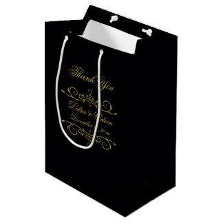 Elegant Black and Gold Heart Flourish Thank You Medium Gift Bag
